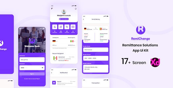 Remichange - Remittance Solution App UI Kit - Business Corporate