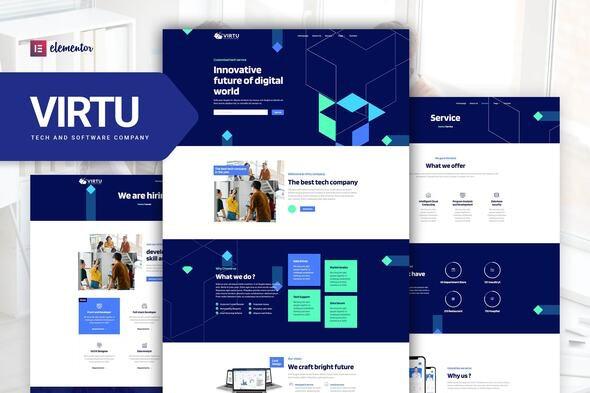 Virtu - Tech & Software Company Elementor Template kit - Technology & Apps Elementor