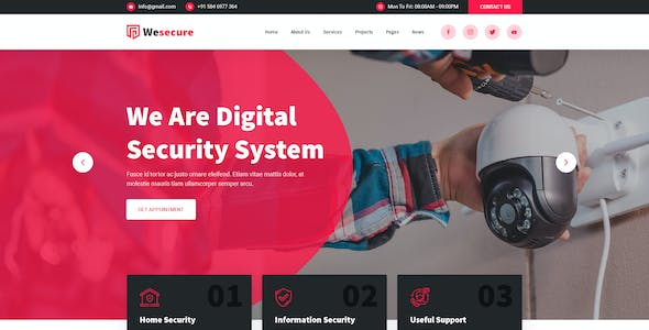 Wesecure - Home CCTV Security PSD Template