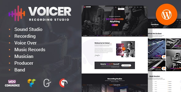 Voicer - Recording and Sound Studio WordPress Theme - Music and Bands Entertainment