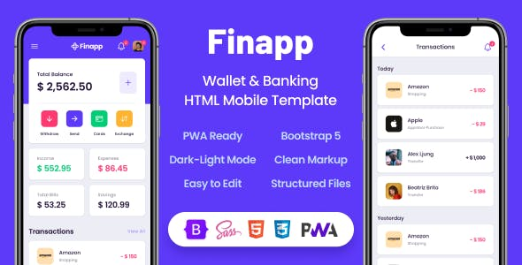 Finapp - Wallet & Banking HTML Mobile Template