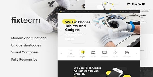 FixTeam   Electronics & Mobile Devices Repair WordPress Theme - Retail WordPress