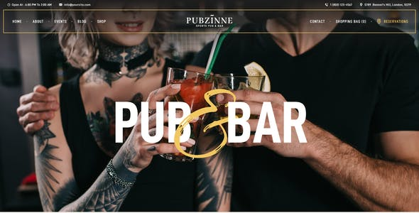 Pubzinne - Sports Bar WordPress Theme
