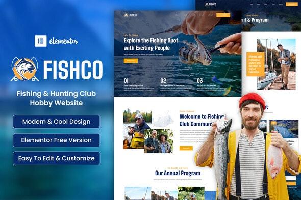 Fishco - Fishing & Hunting Club Hobby Elementor Template Kit - Sport & Fitness Elementor