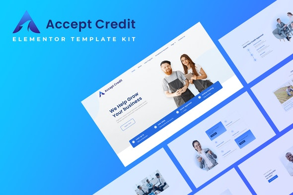 Accept Credit - Financial Services Elementor Template kit - Finance & Law Elementor