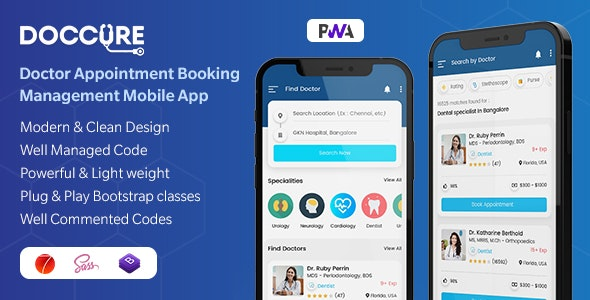 Doccure - Doctor Appointment Booking Management Mobile App Template (Framework7 + Bootstrap + PWA) - Mobile Site Templates