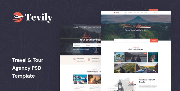 Tevily - Travel & Tour Agency PSD Template - Travel Retail