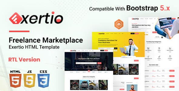 Exertio - Freelance Marketplace HTML Template - Business Corporate