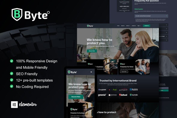Byte - Cyber Security Business Elementor Template Kit - Business & Services Elementor