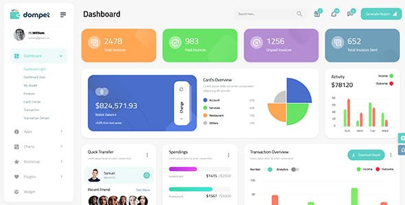 Dompet - Payment Admin Dashboard Bootstrap Template
