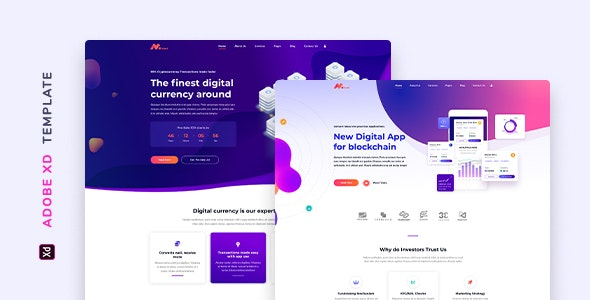 Moneer – Cryptocurrency Template for XD - Technology Adobe XD