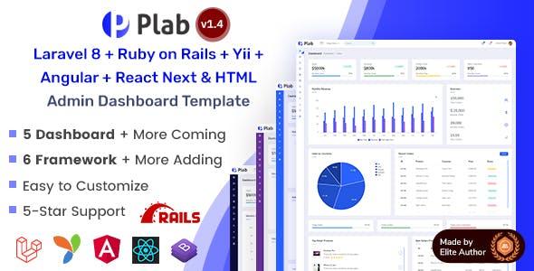 Multi-Framework Admin Dashboard Template - Plab