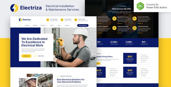 Electriza – Electrical Installation & Maintenance Services Elementor Template Kit