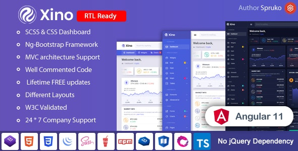 Xino - Angular Cryptocurrency Admin and Dashboard Template - Admin Templates Site Templates