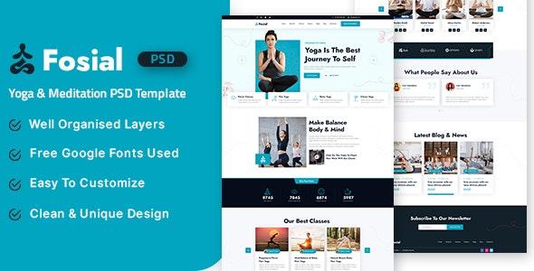 Fosial - Yoga & Meditation PSD Template - Business Corporate