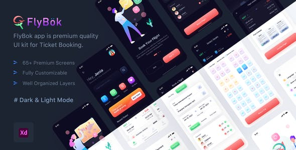 FlyBok - Ticket Booking UI Kit For XD