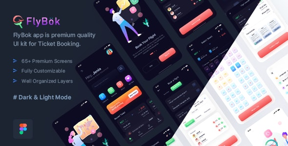 FlyBok - Ticket Booking UI Kit For Figma - Business Corporate
