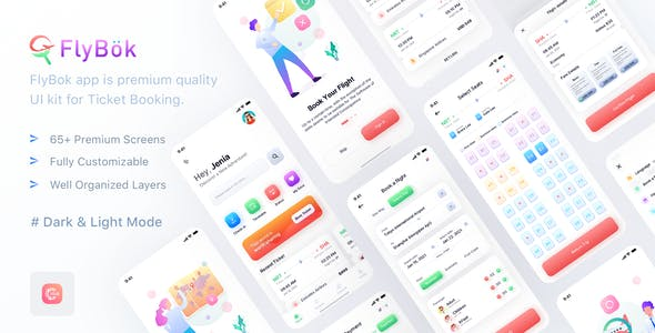 FlyBok - Ticket Booking UI Kit For Figma