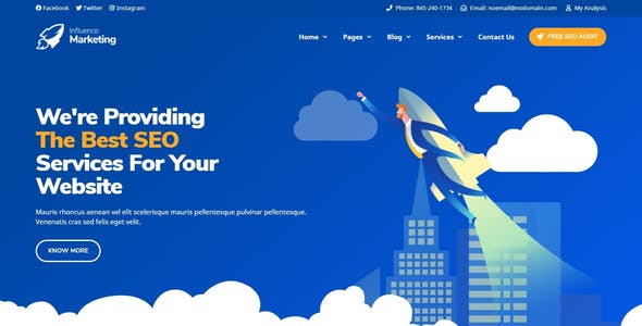 Influence Marketing - SEO & Digital Agency Elementor Template Kit