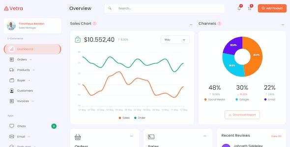Vetra | HTML & Laravel 8 eCommerce Admin Dashboard Template