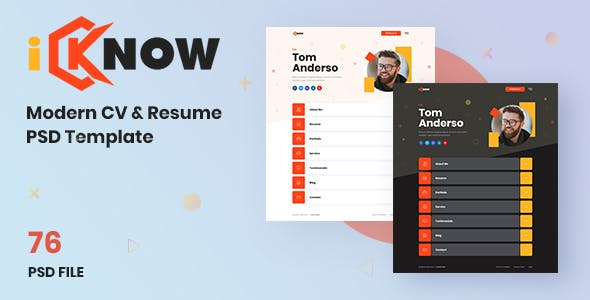 iKnow - Modern CV and Resume Psd Template