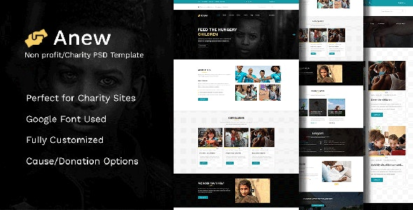 Anew - Nonprofit, Charity PSD Template - Charity Nonprofit
