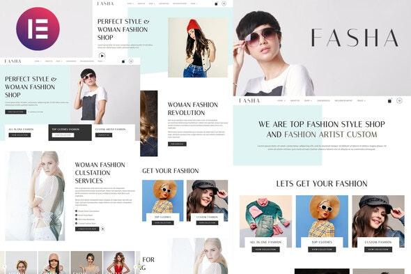 Fasha - Woman Fashion & Shop eCommerce Elementor Template Kit - Fashion & Beauty Elementor