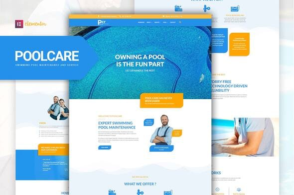 Poolcare - Swimming Pool Service & Maintenance Elementor Template Kit - Business & Services Elementor