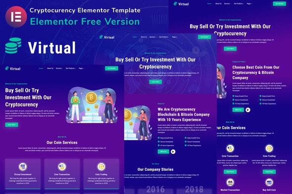 Virtual - Cryptocurency Blockchain & Bitcoin Elementor Template Kit - Technology & Apps Elementor