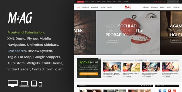 MAG = Grid Magazine / News WordPress Theme / Front-end Submission - News / Editorial Blog / Magazine