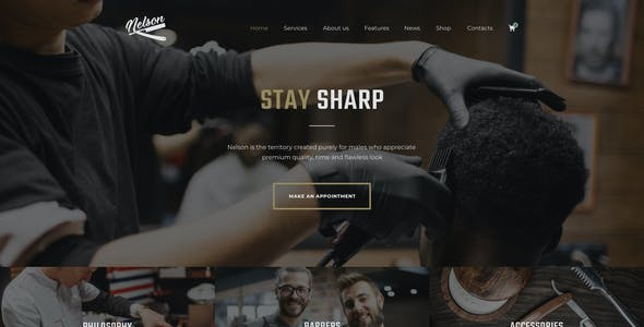 Nelson - Barbershop & Hairdresser Elementor Template Kit