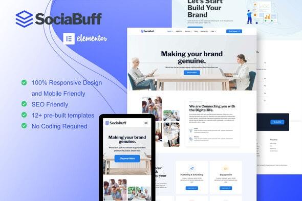 SociaBuff - Social Media & Digital Agency Elementor Template Kit - Creative & Design Elementor