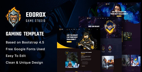 Eoorox - Gaming and eSports HTML5 Template - Entertainment Site Templates