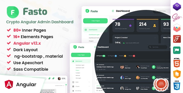 Fasto - Angular Admin Dashboard Template - Admin Templates Site Templates