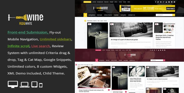 Wine Masonry - Review & Front-end Submission WordPress Theme