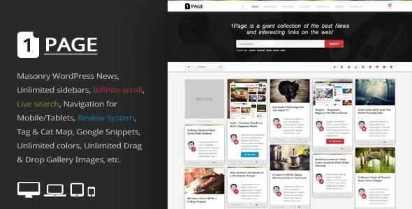 1Page - Masonry WordPress News / interesting links - News / Editorial Blog / Magazine