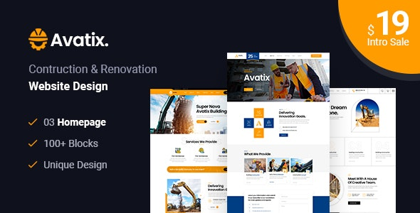 Avatix - Construction and Renovation HTML Template - Business Corporate