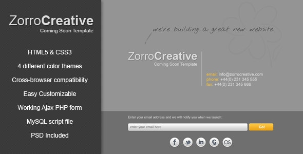 Zorro - Coming Soon Template - Under Construction Specialty Pages