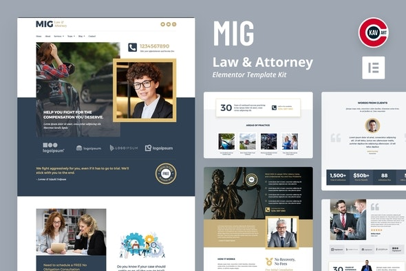 Mig - Law & Attorney Template Kit - Finance & Law Elementor