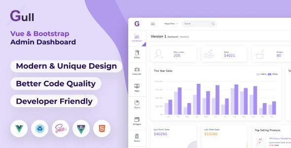 Gull -  HTML & Vuejs Admin Dashboard Template - Admin Templates Site Templates