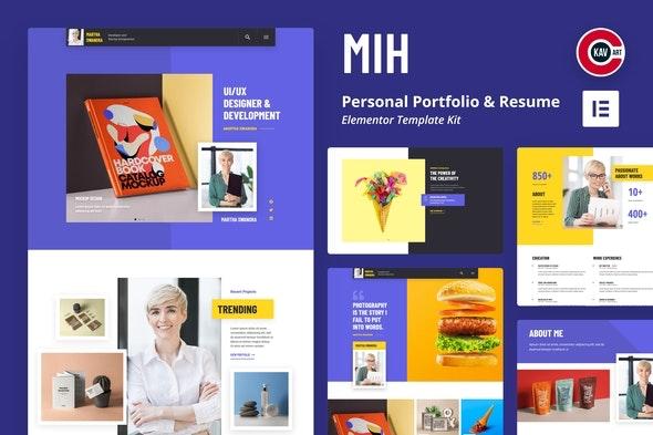 MIH - Personal Portfolio & Resume Template Kit - Creative & Design Elementor
