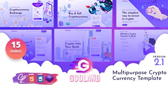 Gooland - Multipurpose Crypto Currency HTML Template - Business Corporate