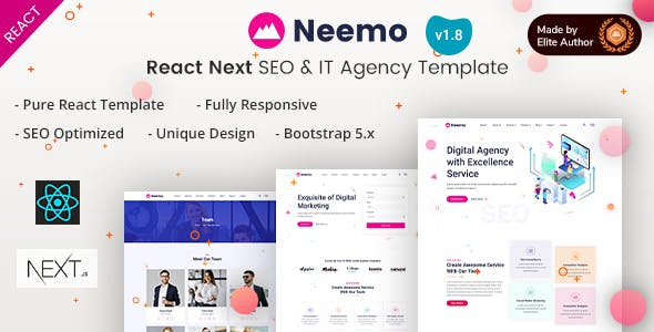 React Next SEO & IT Agency Template - Neemo