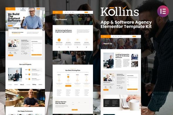 Kollins - App & Software Agency Elementor Template Kit - Technology & Apps Elementor
