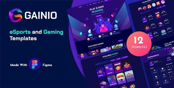 Gainio - eSports and Gaming Figma Templates - Entertainment Figma