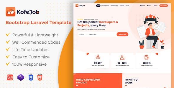 Kofejob - Freelancer Service Marketplace Bootstrap Template (HTML + Laravel)