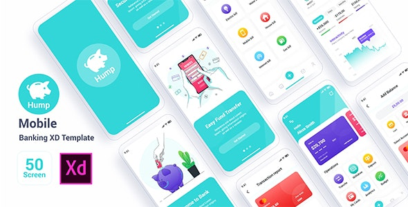 Hump – Mobile Banking Adobe XD Template - Technology Adobe XD
