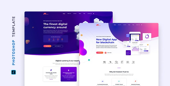 Moneer – Cryptocurrency Template for Photoshop - Technology Photoshop