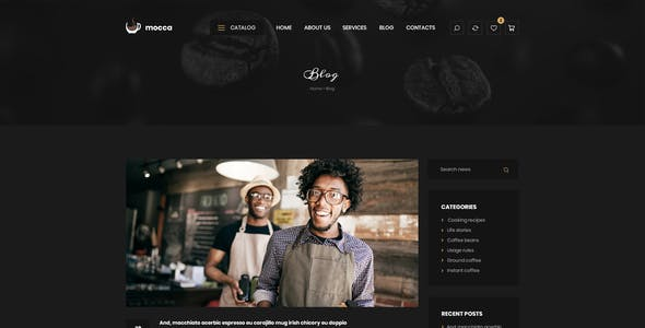 Mocca - Coffee Shop PSD Template