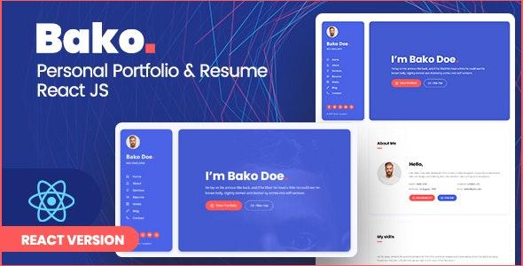 Bako - Personal Portfolio & Resume React Template - Portfolio Creative